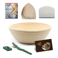 Banneton Bread Proofing Basket Set: 9 inch Round Brotform Bread Basket Dough Bowl | Cloth Liner | Dough Scraper | Bread Lame | Sourdough Recipe - For Professional and Home Bakers Artisan Bread Making