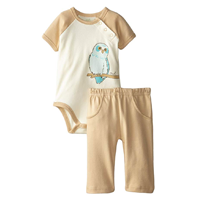 Touched by Nature Organic Bodysuit Pant Set Super Soft Fabric Cute Animal Design Owl Bunny Moose Giraffe 100% Cotton Snap Closure Boy Girl Infant Baby Machine Wash Gentle Skin Sensitive Delicate Comfortable Co-ordinated Gift