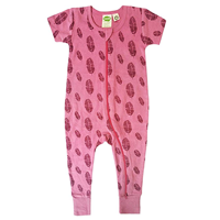 Parade Organics 2 Way Romper Signature Dramatic Colorful Design Organic Cotton Zipper Short Sleeve Pink Feather Crocodile Surf Certified Grown Baby Infant Boy Girl Luxurious Soft GOTS Chemical Pesticide Free Safe Sensitive Delicate Skin Printed by Hand Eco-friendly Ink Azo-free Dye