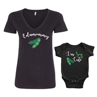 Threadrock Edamommy Mom Mother Baby Set Bodysuit Tee T-shirt Cute Infant V-neck Polyester Son Daughter Matching Ring Spun Cotton Unisex Slim Feminine Fit Food Healthy Soy Bean Vegan Vegetarian