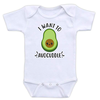 DoozyDesigns Avocado Avocuddle Bodysuit Baby Infant Short Long Sleeve 100% Cotton Cute Veggie I Want To Lap Shoulder Neckline Snap Closure Gift Boy Girl Son Daughter Professional Design Eco-friendly Ink Kid Safe Toddler Gift Gentle Delicate Skin Gender Neutral Outfit Funny Food Clothes