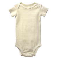 Organic Cotton Short Sleeve Bodysuit Baby Infant Dye-free Cosy Natural Classic Garment Onesie Thick Unisex Certified Stretchable Gender Neutral Sensitive Skin Stripey Gift Boy Girl Son Daughter