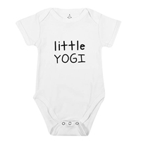 TREELANCE Organic Cotton Baby Infant Bodysuit Short Sleeve Natural Soft Fabric Yogi Girl Boy Onesie Shower Gift Apparel Certified Yoga Ethical Non-toxic Eco-friendly Romper Design Graphic Comfy White Black Gender Neutral One-piece Super Cute Indoor Toddler Summer Spring Fall Cozy House