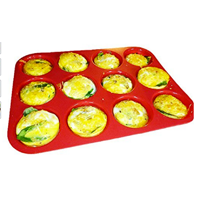 Keliwa 12 Cup Silicone Muffin Mould Fun Versatile Use Over Again Non-stick Dishwasher Microwave Cupcake Baking Pan Blue Green Purple Red Easy Clean Flexible Freezer