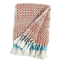 Rivet Handwoven Fringe Stripe Blanket Tassel Throw Extra Cozy Coziness Modern Burnt Sienna Intricate Fun Style Diamond Pattern Herringbone Teal Yarn Acrylic Dry Clean