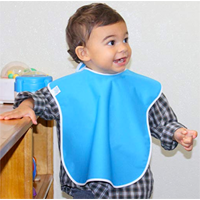 Toppy Toddler Large Waterproof Bib Toddlerproof Baby Snap Buttons Easy Wipe Clean Gift Set Boy Girl Blue Yellow Red Green Shower Feeding Plastic Closure Adjustable Secure Quick Dry Fabric Meal Time Play Paint Water Splash Comfortable Lightweight Durable Versatile Unisex Reversable Daycare School Group Day Care Preschool