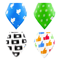 BeAble Kids Organic Cotton Bandana Bibs 4 Pack Baby Infant Toddler Girl Boy Absorbent Polyester Fleece Cute Style Natural Material Fabric Non-toxic Cool Drool Dry High Quality Teething Meal Food Original Design Unique Safety Adjustable Secure Gift Set Shower