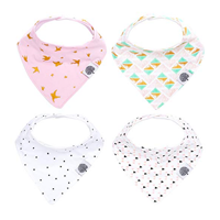 Parker Baby Bandana Drool Bib 4 Pack Dribble Style Girl Boy Baby Infant Toddler Teething Soft Organic Absorbent Material Cotton Polyester Fleece Clothes Dry Burb Fashionable Design Comfortable Versatile Trendy Practical Shower Gift Set Adjustable Size Nickel-free Snap
