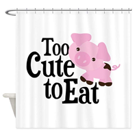 Café Press Vegan Pig Decorative Fabric Shower Curtain Smile Morning Bathroom Polyester High Quality Soft Hang Eyelet Reinforced Professional Printing Artwork Standard Size Stall Tub Waterproof Liner Rod Rings Machine Wash House Home Gift