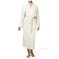 Pure Fiber Organic Knit Bathrobe Bath Robe Quality Cotton Ecru Combed One Size Lightweight Front Pocket Belt Sewn In India Gift House Home Warming Christmas