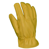 Azusa Safety Deer Saver Work Gloves Harm Making Vegan Faux Fake Leather Synthetic Yellow Large Small Medium X-large Pair Natural Movement Keystone Thumb Design Snug Elastic Comfort Wrist Dirt Debris Gardening Driving Landscaping General Gift Him Her Outdoor