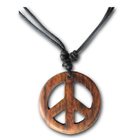 Earth Accessories Adjustable Peace Sign Pendant Organic Wood Renewable Source Cotton Cord Black Brown Flower Bohemian Music Festival Gift Concert Hippie Woodstock 1960s 1970s Women Men Teen Girl Boy Gypsy Charity Environment Eco-friendly Sustainable