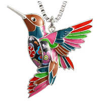 Luckeyui Hummingbird Necklace Pendant Colorful Unique Design Charm Bird Jewelry Gift Blue Red Multi-color Black Box Chain Stainless Steel Keychain Mind Yoga Spiritual Painting Enamel Flower Birthday
