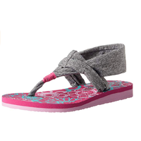 Skechers Sling Back Sandal Foam Sole Secure Meditation Little Big Kid Grey Pink Textile Rubber Yoga Lightweight Thong Summer Spring Vacation Holiday Play Indoor Outdoor Casual Smart Comfort Easy