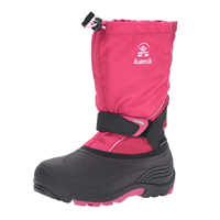 Kamik Sleet Snow Boot Warm Waterproof Durable Color Big Little Kid Toddler Fabric Synthetic Sole Mid Calf Hook Loop Strap Ankle Bungee Cord Closure Sealed Seam Removable insole Nylon Zylex Moisture Wicking Reflective Technology Lightweight Winter Fall Spring Rain Outdoor Play Sledging Holiday