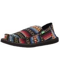 Sanuk Vagabond Funk Loafer Funky Design Ethnic Bohemian Tribal Recyclable Black Green Red Blanket Textile Rubber Sole Woven Material Foam Cork Insole Beach Holiday Outdoor Fun Casual Summer Spring Fall