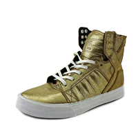 Supra Men Skytop Fashion Baseball High Top Canvas Synthetic Sole Color Gold Black White Logo Sneaker Toe Box Oversize Tongue Padded Collar Cushioned Footbed Comfort Sport Basketball Active Weekend Holiday Vacation Casual School Spring Fall Summer