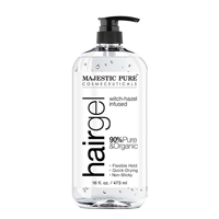 Majestic Pure Hair Gel Organic Aloe Vera Witch Hazel Strong Hold Ingredients No Harmful Flexible Hold Quick Dry Non-sticky Smooth Soft