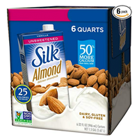 Silk Pure Original Almond Milk – Pack of 6 Low in calories and an excellent source of vitamins and minerals.  Delicious on cereal, part of a recipe or served straight up in a glass. Non-dairy, vegan, milk alternative