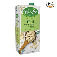 Pacific Foods Original Organic Oat Milk – Pack of 12 A great milk substitute, sweetened with organic oats, for use in cooking, baking or neat. Non-diary, vegan, milk alternative, plant-based, dairy-free