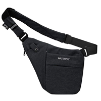 Waterfly Lightweight Casual Fanny Pack Water Tear Resistant Active Guy Man Sling Bag Daypack Shoulder Chest Black Khaki Grey Blue Nylon Polyester Outdoor Travel Day Sport Work Business Gift Multiple Compartment Comfort Unique Design Adjustable Strap Convenient