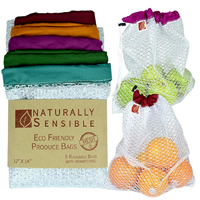 Naturally Conscious Original Eco-friendly Reusable Produce Bag Answer No More Throw Away Plastic Organic Veg Washable See Through Premium Soft Lightweight Nylon Mesh Large Red Yellow Green Blue Purple Shopping Last Save Money Environment Convenient Functional Versatile Gift