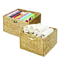 Seville Classics Hand Woven Water Hyacinth Sea Grass Basket Pack Matching Storage Brown Fold Flat Sturdy Steel Frame Ideal Bedroom Closet Bathroom Laundry Kitchen Toy Living Room House Home
