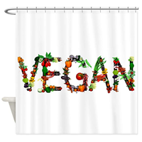 Café Press Vegan Vegetable Fabric Shower Curtain Clear Simple Message Attractive Design Polyester High Quality Hang Eyelet Professional Printing Unique Smile Fun Artwork Standard Size Stall Tub Machine Wash