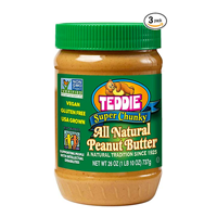 Teddie All Natural Super Chunky Peanut Butter True USA America Grown Non-GMO Gluten Free Vegan No Added Preservatives Sugar Family Owned Company Old Fashioned Roasted Ground Fresh Wholesome Customer Satisfaction Quality Product Queen River