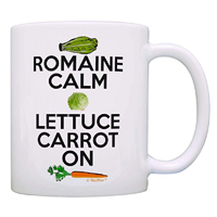ThisWear Romaine Calm Carrot Lettuce On Coffee Tea Mug Gift Motto Day Vegan Cup White Funny Foodie Vegetarian Chef Ceramic Design Color Print Durable Microwave Dishwasher