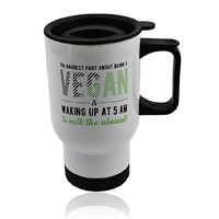 Wonderful Mugs Vegan Car Coffee Travel Mug Gift Ditch Take Out Cup White Metal Tea Hot Drink Stainless Steel Friend Colleague Sustainable Eco-friendly