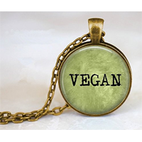 Vegan Pendant Necklace Inexpensive Eye-catching Handmade Green Herbivore Leaf Charm Alloy Glass Bronze Chain Gift Bag Christmas Birthday Anniversary Quality Bezel Setting Party Favor Stocking Stuffer