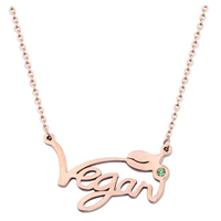 GZrlyf Vegan Necklace Beautiful Rose Gold Pendant Statement Gift Vegetarian Symbol Jewelry Stainless Steel Lead Nickel Free Hypo Allergenic Eco-friendly Fierce Celebrate Respect Animal Rights Birthday Friend Celebration Favor