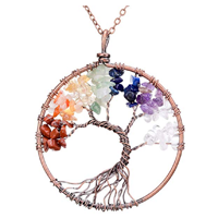 Sedmart Tree of Life Pendant Handmade Unique Piece Gemstone Crystal Chakra Necklace Jewelry Stone Quartz Amethyst Color Rainbow Round Beauty Health Good Luck Healing Gift Best Friend Black Velvet Gift Bag Claw Clasp Birthday Celebration