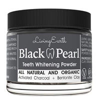 Living Earth Black Pearl Teeth Whitening Powder Brighten Smile Freshen Breath Natural Activated Charcoal Organic Coconut Tooth Anti-bacterial Glass Jar Bentonite Clay Quality Non-toxic Materials White