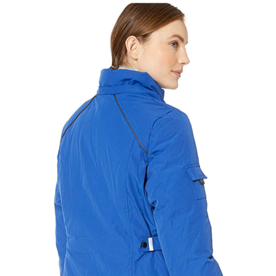 82% Polyester, 18% Cotton     Imported     Zipper closure     Machine Wash     Fill: 100 percent vegan down insulation, temperature rating - warmest. Durable water repellant fabric. Removable hood with buttons. Permanent faux fur around hood. Rib knit cuffs with thumbholes     Functional outside pockets: 4 front welt pockets, 1 sleeve pocket. Inside lining pockets for cellphone and cellphone charger. Adjustable side belt tabs with snaps. Reflective trim detail and piping for safer nighttime visibility     Woven patch with logo on wearer's left arm. Machine wash in cold water remove faux fur hood before drying