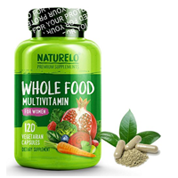 Naturelo Whole Food Multi Vitamin Women Natural Mineral Raw Organic Extract Supplement Energy Heart Health Vegan Capsule Fruit Vegetable Metabolism Immunity Heart Brain Eye Wellness Antioxidant Digestion