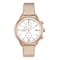 Citizen Watch Women FB2003-05A Eco-Drive Elegance Every Day Evening Dress Occasion Blush Pink Chandler Vegan Leather Faux Tan Design Classic Stainless Steel Case White Dial Light Powered No Battery Adjustable Buckle Glitter Gift Birthday Celebration Occasion