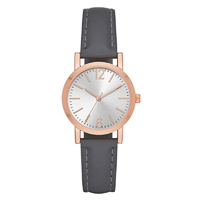 Folio Women Grey Vegan Leather Watch Style Simplicity Silver Sunray Dial Gold Adjustable Band Strap Day Date Movement Gift Birthday Christmas Dress Evening Daytime