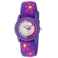 Timex Girl Elastic Fabric Strap Watch Colorful Kid Comfy Time Machine Analog Easy-to-Read Dial Learn Water Resistant Quartz Washable Adjustable Gift Birthday Christmas Hannukah Play Fun Colorful