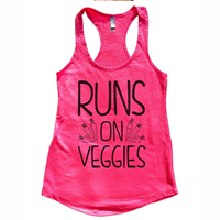 activewear Women's Racerback Vest Top Run on Veggies Vegan Tank Top Gift Funny Threadz Comfortable High Quality Material Awesome Color Options Dayglo Flowy Lightweight Perfect for the Gym Yoga Running Exercise