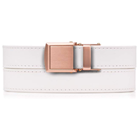 SlideBelts Premium Skinny Ratchet Belt Slim Width Stunning Gold Rose Buckle White Vegan Gift Evening