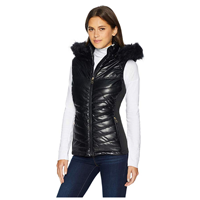 coat Nanette Lepore Vegan Leather Puffer Vest Hood Faux Fur Versatile Fashionable Polyurethane Zipper Closure Trendy City Warm Fall Winter Evening Casual Daytime Collar